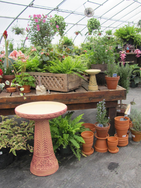 Birdbath display in Greenhouse